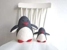 Penguins - mama and child, organic, baby, toddler, eco friendly, animal, toy, plush, soft, cosy, grey, white, yellow, shower gift $70.51