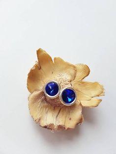 Blue Crystal Earrings, Round Stud Earrings, Sterling Silver, Everyday Jewelry, Majestic Blue Crystal Posts, Geometric,Sapphire Blue, Elegant