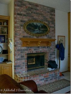 Latest Pic dark Brick Fireplace Concepts How To Paint A Brick Fireplace – Add.--Latest Pic dark Brick Fireplace Concepts How To Paint A Brick Fireplace – Addicted 2 Decorating® You are in the right place abou Fireplace Hearth Stone, White Wash Brick Fireplace, Fireplace Frame, Painted Brick Fireplaces, Fireplace Update, Brick Fireplace Makeover, Shiplap Fireplace, Small Fireplace, Fireplace Remodel