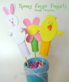 Simply Designing with Ashley: Spring Finger Puppets #spring #fingerpuppets #kids