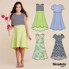 Sew a chic popover dress for your sweet little one with Simplicity Girls Dresses Tween, Girls Dresses Sewing, Dresses For Tweens, Skirts For Kids, Plus Dresses, Little Girl Dresses, Outfits For Teens, Girl Outfits, Girl Dress Patterns