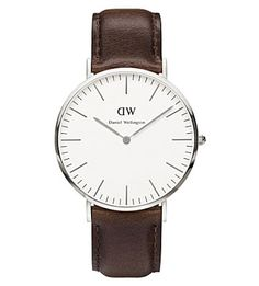 Daniel Wellington BristolStainless Steel and Leather Strap Watch