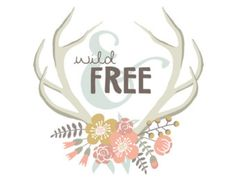 Wild and Free Nursery Wall Art Poster, Girl Floral Antlers Baby Shower Gift, Boho Bedroom Decor, Printable Quote Print