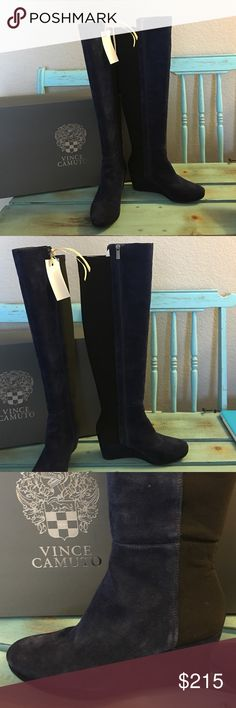 """🎀🆕Vince Camuto Over The Knee Stretch Boot🎀 These stunning boots are a royal blue suede with black stretch material in the back half of boot so they'll fit any size calf! Brand new in box, stunning!! Height of boot is 22"""" and the wedge heel is 3"""". Vince Camuto Shoes Over the Knee Boots"""