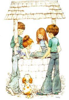 crianças no poço.