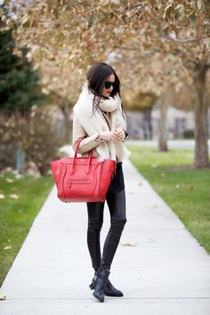 Happy Tuesday… (Pink Peonies by Rach Parcell) Fall Winter Outfits, Autumn Winter Fashion, Winter Wear, Selena Gomez, Celine Mini Luggage, Free People Boots, Faux Leather Pants, Glamour, Winter Looks