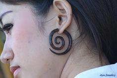 Fake Gauge Earrings Rose Wood Spiral Tribal  Wooden Earring #Etsy #Jewelry #Earrings #Organic #Tribal #TribalStyle #HornEarrings #WoodEarrings #BoneEarrings #BoneCarving #HornCarving #WoodCarving #Piercing #Plugs #Gauges #Tattoo