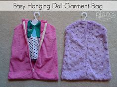 """The cutest DIY Doll Garment Bag- for 18"""" dolls - in Embossed Star Cuddle® Fuchsia  and Embossed Heart Cuddle® Lilac - Tutorial by Pieces by Polly for Fairfield World. Download the Free Pattern and Sewing Tutorial here: http://shannonfabrics.com/blog/2016/04/11/cuddle-doll-clothes-garment-bag/ @PiecesByPolly  @fairfieldworld"""