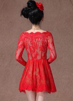 #SheInside Red Boat Neck Long Sleeve Overlay Lace Flare Dress - Sheinside.com