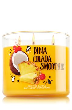 Body Care & Home Fragrances You'll Love - Pina Colada Smoothie Candle – Home Fragrance 1037181 – Bath & Body Works Best Picture Fo - Cute Candles, 3 Wick Candles, Best Candles, Scented Candles, Bath Body Works, Bath And Body Works Perfume, Home Scents, Home Fragrances, Bath And Bodyworks
