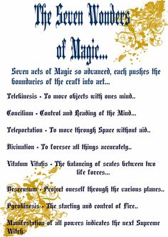 Book Of Shadows Pages: The Seven Wonders of Magic