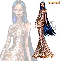 Pocahontas - Disney Haute Couture - by Armand Mehidri Disney Princess Fashion, Disney Princess Drawings, Disney Princess Art, Disney Inspired Fashion, Disney Sketches, Princess Style, Disney Drawings, Disney Style, Disney Art