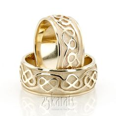 Celtic Heart Wedding Band Set #Wedding #bridal #Band #weddingband #ring #25karats
