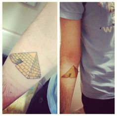 """I grew up semi-obsessed with Egyptian mythology, and pyramids have come to represent several things for me. Mainly finding a balance between the material and spiritual sides of life, and leaving something behind.   Done by Joe at One Shot here in San Francisco. Cool guy, went out of his way to make time for me, and even missed his dinner plans.   newpyramids.tumblr.com"""