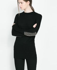 SWEATER WITH RHINESTONE ELBOW PATCHES from Zara - $29.99