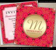 Red and Gold Eastern Bohemian Indian inspired Dinner Party Invitations by Webgrrl