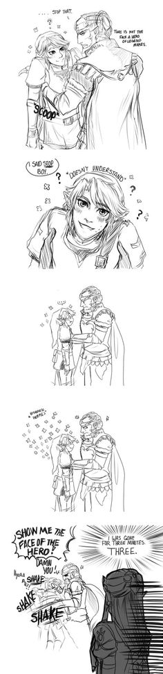 'Let's Be Friends! Au' Ganondorf can't seem to keep his temper in check around the poor farm boy. One day I'll make an origins comic to this AU....one day. >u> Loz (c) Nintendo
