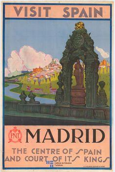 Visitez l' espagne madrid spain vintage travel advertisement art poster print Retro Poster, Vintage Travel Posters, Cvc, Visit Madrid, Illustrations Vintage, Madrid City, Madrid Travel, Tourism Poster, Photo Vintage