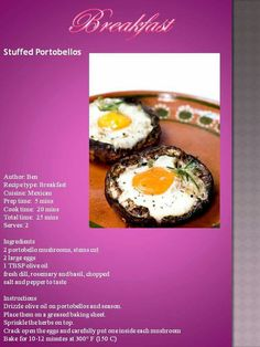 Banting Recipes, Low Carb Recipes, Banting Breakfast, Fresh Dill, Large Egg, Portobello, 2 Ingredients, Low Carb Keto, Stuffed Mushrooms