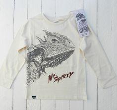 oganic Cotton Kids T-shirt LIZARD 'Mr Spikey', screenprinted by hand