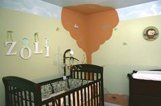 Baby Boys Nursery room with woody animals