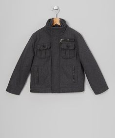 Take a look at this Charcoal Military Jacket - Toddler & Boys on zulily today!