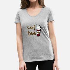 Kaffee Coffee Queen Cafe Kaffeepause Geschenk - Frauen Bio-T-Shirt mit V-Ausschnitt von Stanley & Stella Trends, Shirt Designs, V Neck, T Shirts For Women, Fashion, Coffee Break, Gifts For Women, Women's T Shirts, Kleding