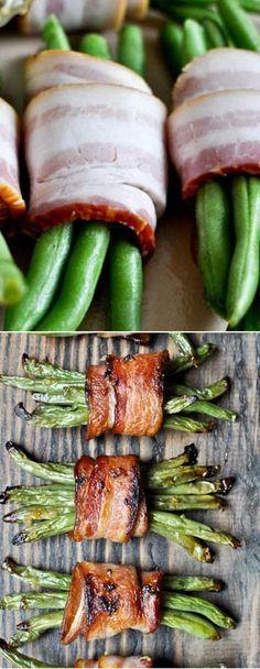 Easy Green Bean Bacon Bundles I howsweeteats.com