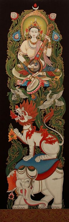 HINDU GOD: Goddess Saraswati, depicted in the Tibetan Buddhist tradition