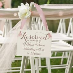 Custom Wedding Memorial Chair Sign Personalized Memorial Sign Reserved In Memory Of (Custom Name) Ce - The little thins - Event planning, Personal celebration, Hosting occasions Wedding Ceremony Ideas, Wedding Signage, Wedding Favors, Wedding Events, Wedding Bouquets, Rustic Wedding, Wedding Decorations, Wedding Invitations, Wedding Banners