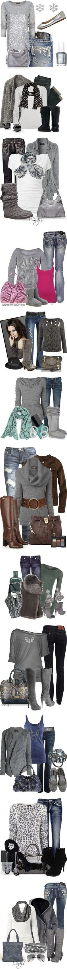 """Gray"" ❤. Not crazy about the animal print shirt and can't do the belted sweater.  Love the color accents in most of these."