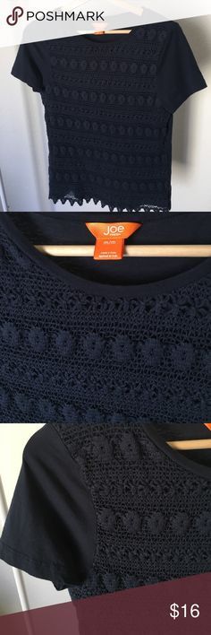 Joe Fresh navy crochet lace top Joe Fresh for JCPenny thicker crochet lace overlay tee, size medium in navy.  100% cotton Joe Fresh Tops Tees - Short Sleeve