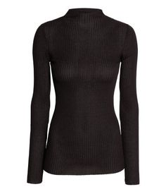 Black. Fitted top in a soft, airy rib knit with a mock turtleneck and long sleeves. ribbed
