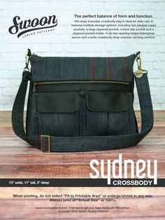 Sewing pattern; Large crossbody bag that features multiple storage options with an abundance of pockets. A zip top opening keeps belongings secure and a wide crossbody strap ensures carrying comfort.