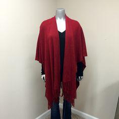 Croft&Barrow Kimono Shaw Like New Deep Red Croft&Barrow Kimono Shaw with Fringed Bottom! Extremely Soft & Cozy!! Perfect for Fall & Winter!! PERFECT CONDITION 100% Acrylic Croft & Barrow Sweaters Shrugs & Ponchos