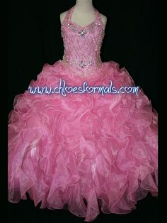 Hot Sale Little Rosie Pageant Dresses For Girls Long Skirt Halter Beads &… Pagent Dresses, Girls Pageant Dresses, Pageant Gowns, Girls Party Dress, Little Girl Dresses, Flower Girl Dresses, Flower Girls, Kids Formal Wear, 2 Piece Homecoming Dresses