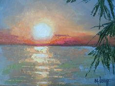 Tropical Sunset Painting Small Oil Painting Aloha Painting