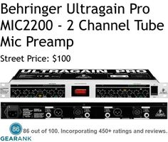 """Behringer Ultragain Pro MIC2200 2-Channel Tube Mic Preamp.  Features: Channels: 2 - Mic Preamps: 2 Tube Preamps - Input Connectors: 2 x XLR, 2 x 1/4"""" - Output Connectors: 2 x XLR, 2 x 1/4"""" - Controls: Gain, Phantom Power, EQ. For a Detailed Guide to the Best Mic Preamps see https://www.gearank.com/guides/mic-preamps"""