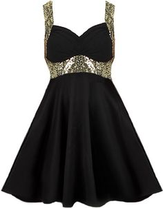 Empire State Dress: Features amazing glittering gold straps which criss-cross at the back for added glamour, sparkling sequin empire waist, super flattering sweetheart bust, and a twirl-worthy A-line skirt to finish.