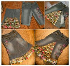 Repurposing jeans by sherry sewing diy clothes, denim crafts Diy Clothes Videos, Denim Ideas, Denim Crafts, Moda Vintage, Jeans Rock, Recycled Denim, Clothing Hacks, Sewing Clothes, Dressmaking