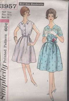 MOMSPatterns Vintage Sewing Patterns - Simplicity 3957 Vintage 60's Sewing Pattern GORGEOUS Notch Tab Collar Half Size Slenderette Shirtwaist Day or Cocktail Party Dress, 2 Styles