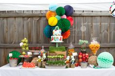 Very Hungry Caterpillar Inspired Dessert Table, with a healthy balance of sweets and fruits which fits perfectly with the story