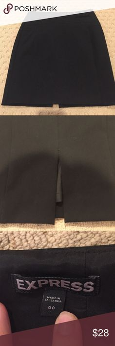 Express black pencil skirt Zip up in back, slit in back, size 00 Express Skirts Mini