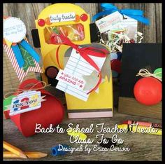 Back to School Teacher Treats Class Planner by Erica Cerwin at Pink Buckaroo Designs- This class planner is designed around the Writing Notes Background Stamp and All Boxed Up stamp set. Included are step by step directions to create six different 3D projects, each using all Stampin' Up products. You will find a School Bus treat box, a School Lunch Bag treat holder, a EOS Holder, a Tiny Treat Box and an Apple treat holder.
