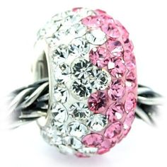 Pink White Swarovski Crystal Bead Charm, 925 Sterling Silver Core, fits Troll, Chamilia, Pugster Bracelet(s)