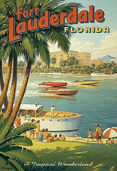 Fort Lauderdale, Florida Art Poster Print by Kerne Erickson, Old Florida, Vintage Florida, Florida Travel, South Florida, Florida Trips, Beach Travel, Kunst Poster, A4 Poster, Poster Prints