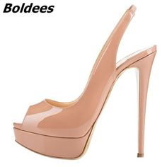 Image of Boldees 2018 Women's Fashion Slingback Thin High Heels Platform Pumps For Women Patent Leather Super High Heel Shoes Big Size Wedge Shoes, Shoes Heels, Heels Outfits, Shoes Sneakers, Thick Heel Boots, Super High Heels, Studded Heels, Platform High Heels, Types Of Shoes