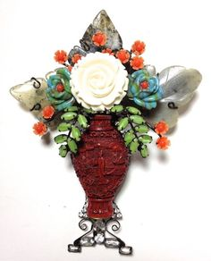 Larry Vrba Sculpture Floral Diamonds Chinese Carving Arrangement Vase Pin Brooch | eBay