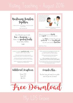 [Free Printable] Visiting Teaching<br> August 2016 | My LDS Grove