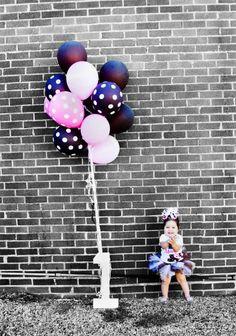 1st birthday girl balloons polka dots tutu bow cake cute photo shoot photography idea  brick wall www.facebook.com/dmvphoto